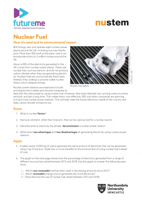 Nuclear fuel worksheet